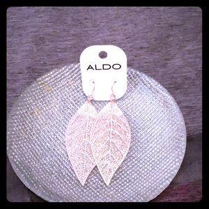 Aldo rose gold leaf earrings